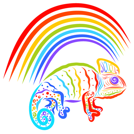 Rainbow and colorful chameleon with a creative pattern