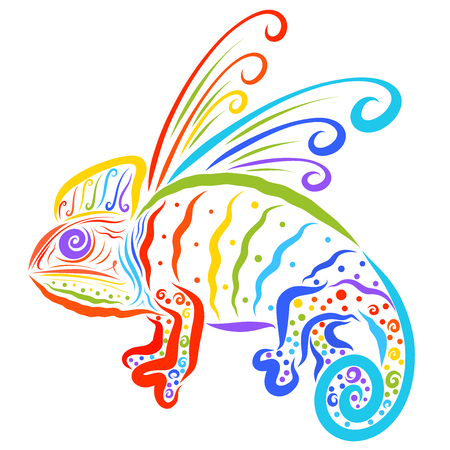 Funny winged chameleon, fairytale dragon, colors of the rainbow