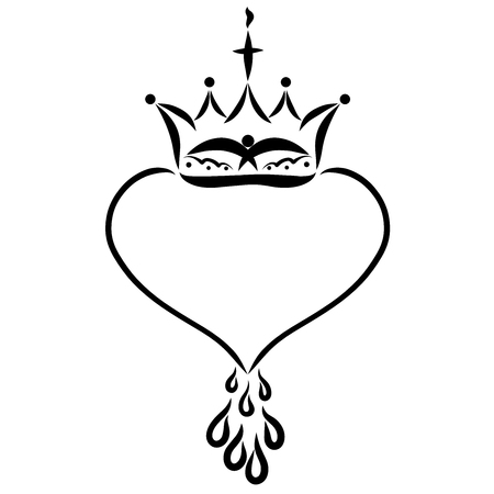 Frame in the shape of a heart with drops and a crown, a cross and a bird on the crown