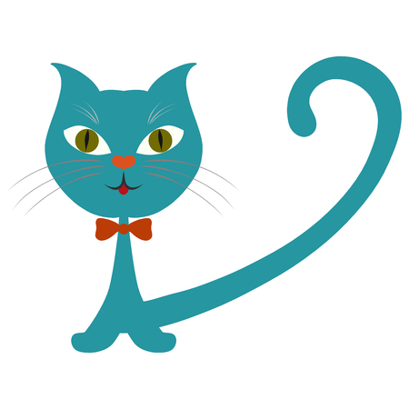 Funny smiling cat with a bow tie and a nose in the form of a heart Archivio Fotografico