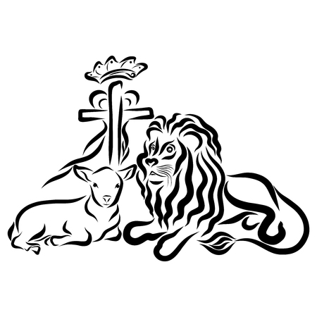 Lion with a lamb and a cross with a heart and a crown Reklamní fotografie