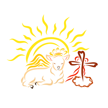 A royal lamb with wings, a cross with a crown of thorns and a heart and a shining sun Standard-Bild - 121784374