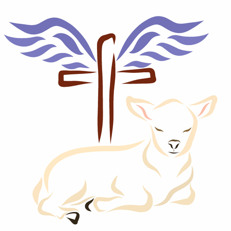 Lamb, cross and wings, Christianity