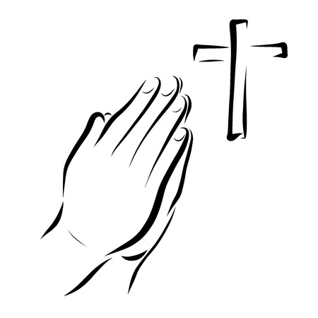 Hands of a praying person and a cross