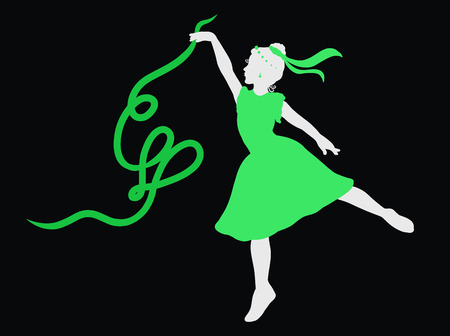 dancing beautiful girl in a green dress with a ribbon forming a heart