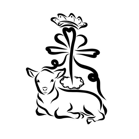 Holy Lamb, cross, crown of thorns, heart and crown Standard-Bild - 121784087