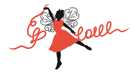 Winged girl dancing with ribbons, the word Love and heart