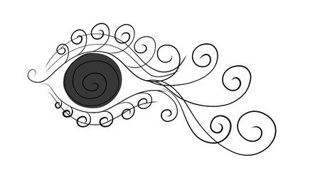 eye with long curly eyelashes, like a fish Banco de Imagens