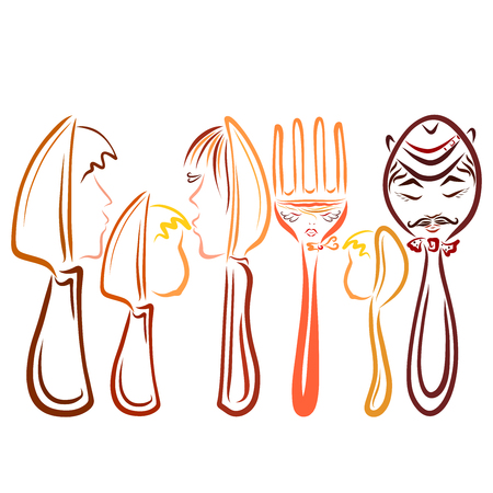A set of cutlery with human faces, two families, knives, spoons and a fork