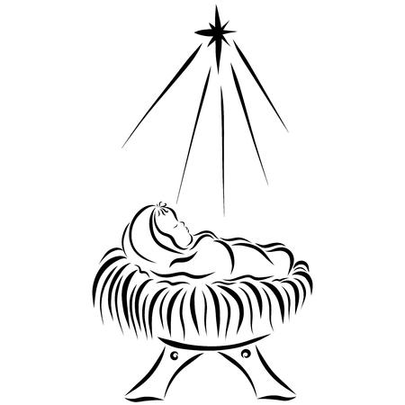 the baby Jesus sleeping in the manger Archivio Fotografico - 121782901