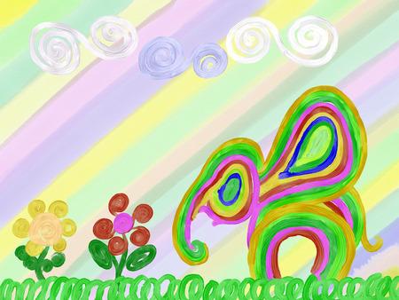 abstract rainbow elephant and summer