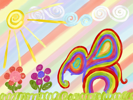 abstract rainbow elephant and summer