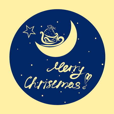 Wishing Merry Christmas, background with sledges on the moon and gifts Stock Photo