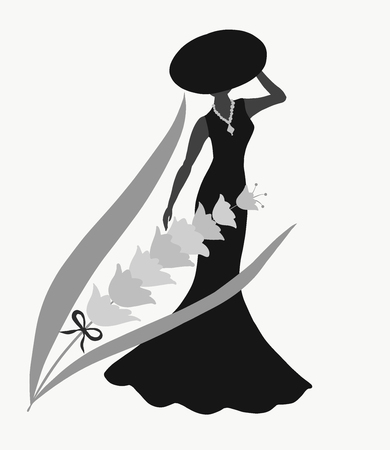 Silhouette of lady in black and flower