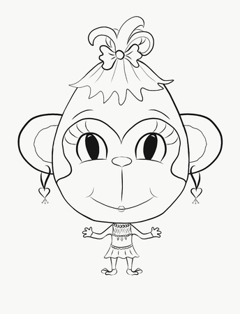 Coloring, small, funny monkey girl Stock Photo