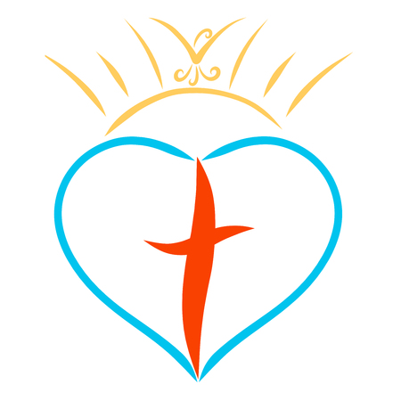 crown of the sun with a bird above the heart with a cross