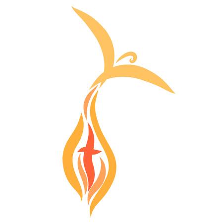 ptak wylatujący z płomieni i krzyż