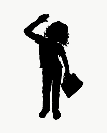 Curly child with a briefcase in his hand waving goodbye