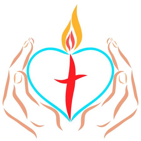 Handen met een hart met een kruis en vlam Stockfoto