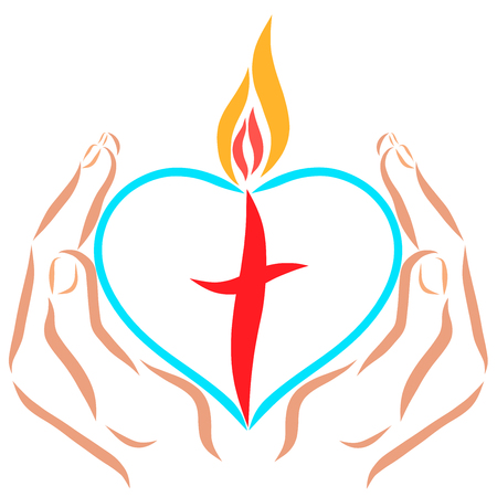Hands holding a heart with a cross and flame Stock Photo