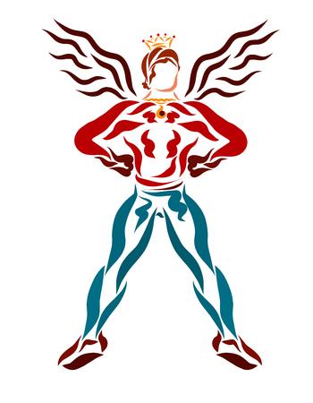 strong man, proud superhero, prince with wings Stockfoto