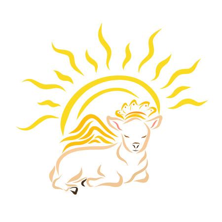 Liegendes geflügeltes Lamm oder Kalb in einer Krone und strahlender Sonne Standard-Bild