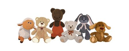 Set of cute plush toys Banque d'images - 121710636