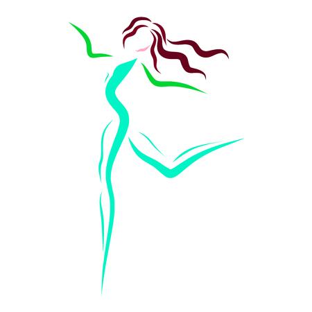 Slender girl in motion 版權商用圖片