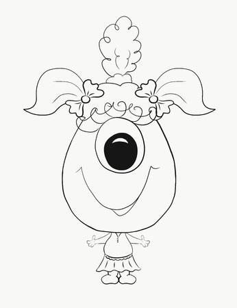 Coloring for kids, funny little monster girl Stock Photo