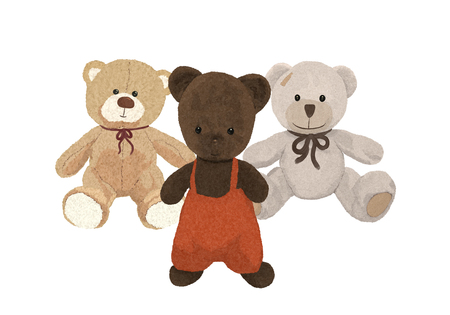Three plush bears, toys friends Banque d'images - 121709623