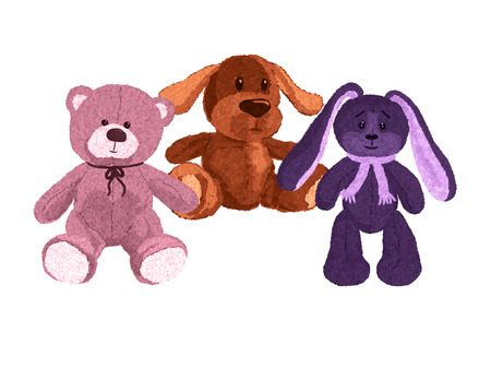 Three cute plush toys, a dog, a bear and a hare Banque d'images - 121709543