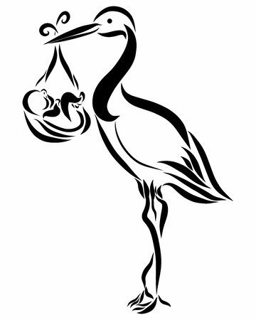 The stork is standing and holding a diaper with a baby and a umbilical cord in the form of a heart Stock Photo
