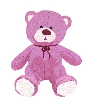 Ours en peluche rose peint avec des couleurs Banque d'images
