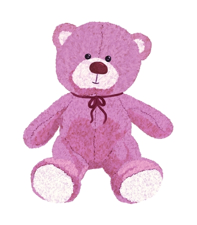 Pink teddy bear painted with colors Stockfoto