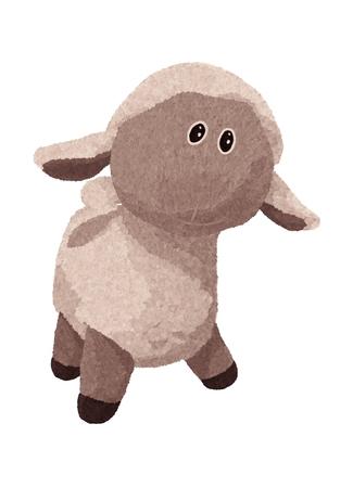 Painted cute plush lamb Banque d'images - 121708750