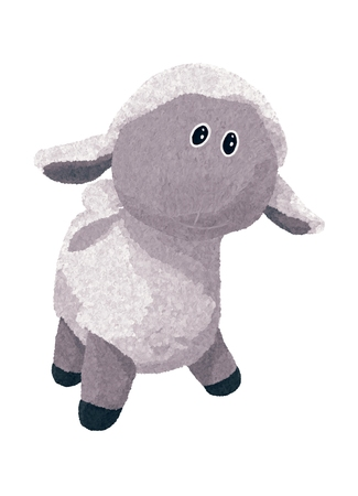 cute gray fluffy sheep, plush toy, standing Banque d'images - 121270513