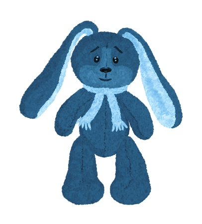 Cute blue smiling vintage hare in a scarf and with long ears Banque d'images - 121269928
