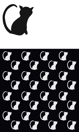 Rectangular background with a black cat on a white background and a lot of white cats on black