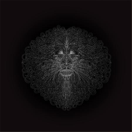 La cabeza de un león sobre un fondo negro, un intrincado patrón de plata Foto de archivo