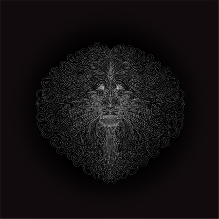 The head of a lion on a black background, an intricate pattern of silver