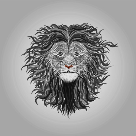Lion painted with smooth lines with long curls in the mane, creative
