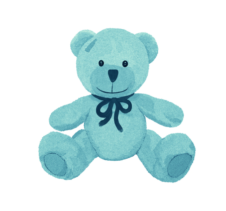 Cute turquoise teddy bear with a patch Banque d'images - 121266697