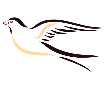 Beautiful swiftly flying swallow, drawing with smooth lines