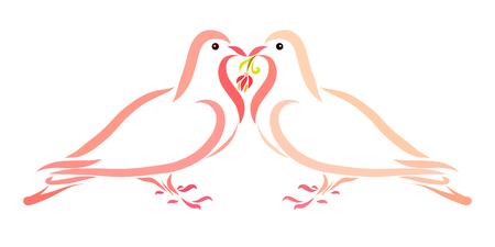 Pigeons, romance, love and flower Stock fotó