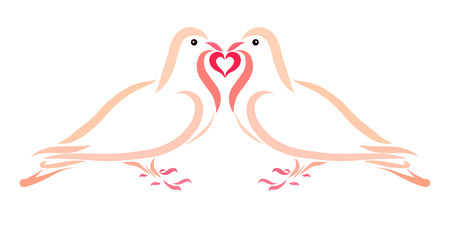 Doves in Love Together Hold a Heart Stock fotó