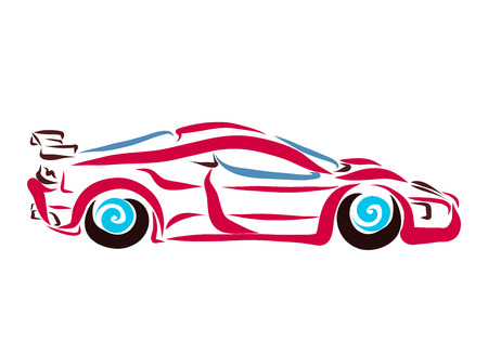 A sports car painted with smooth lines Stockfoto