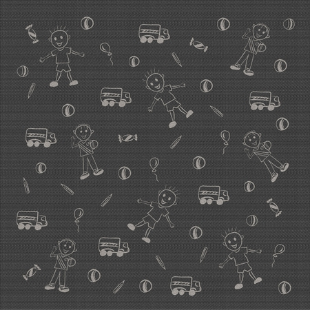 Cheerful gray children's background with boys and toys