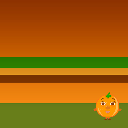 Bright background with funny cheerful orange Banco de Imagens - 121118551
