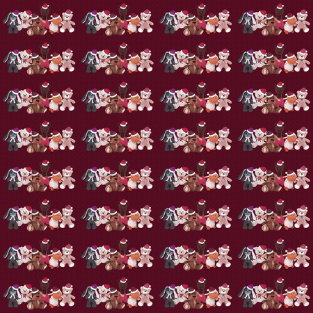 Burgundy background with a set of Christmas plush toys