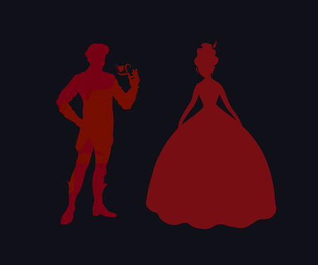 Silhouette background with prince and princess